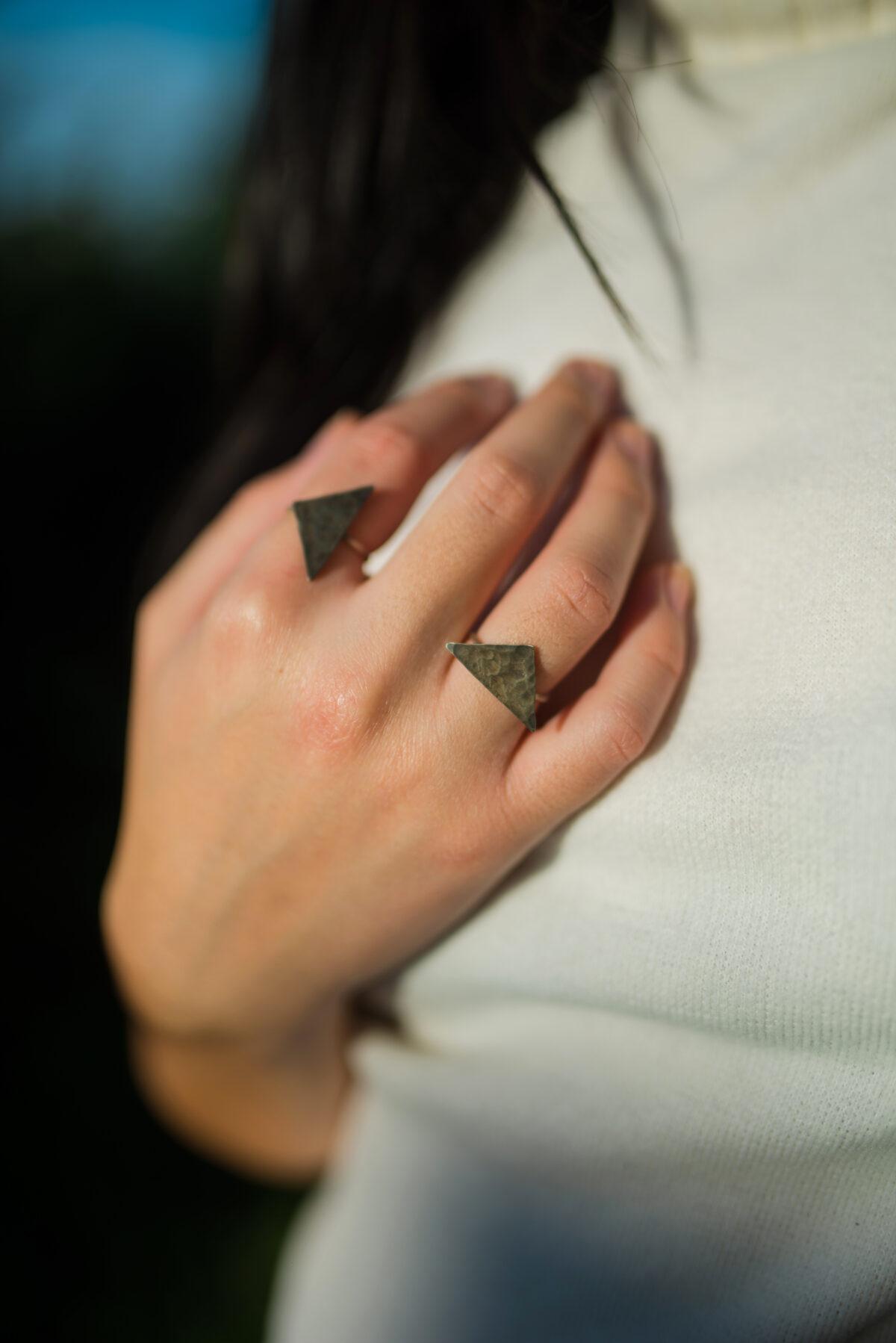 """The Moon"" rings set black"