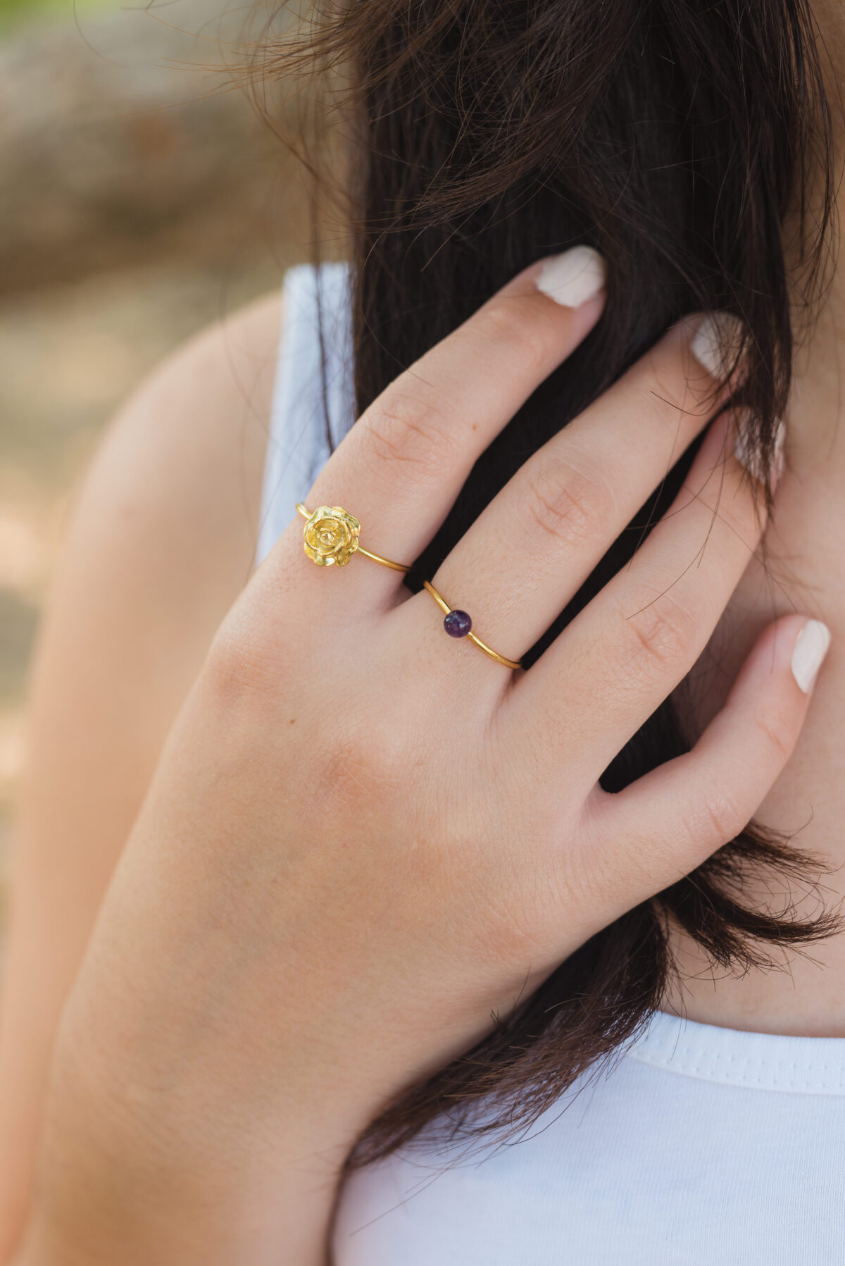 """Petra"" ring II Αμέθυστος gold plated"