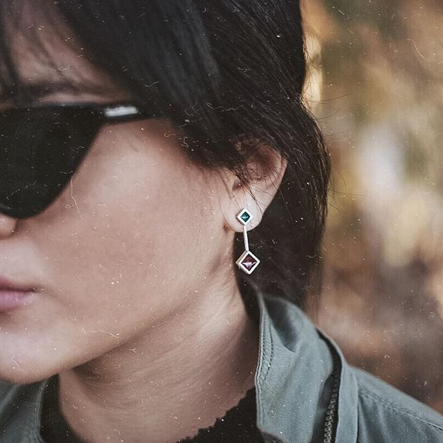 """Colors & Shapes"" II silver earrings"