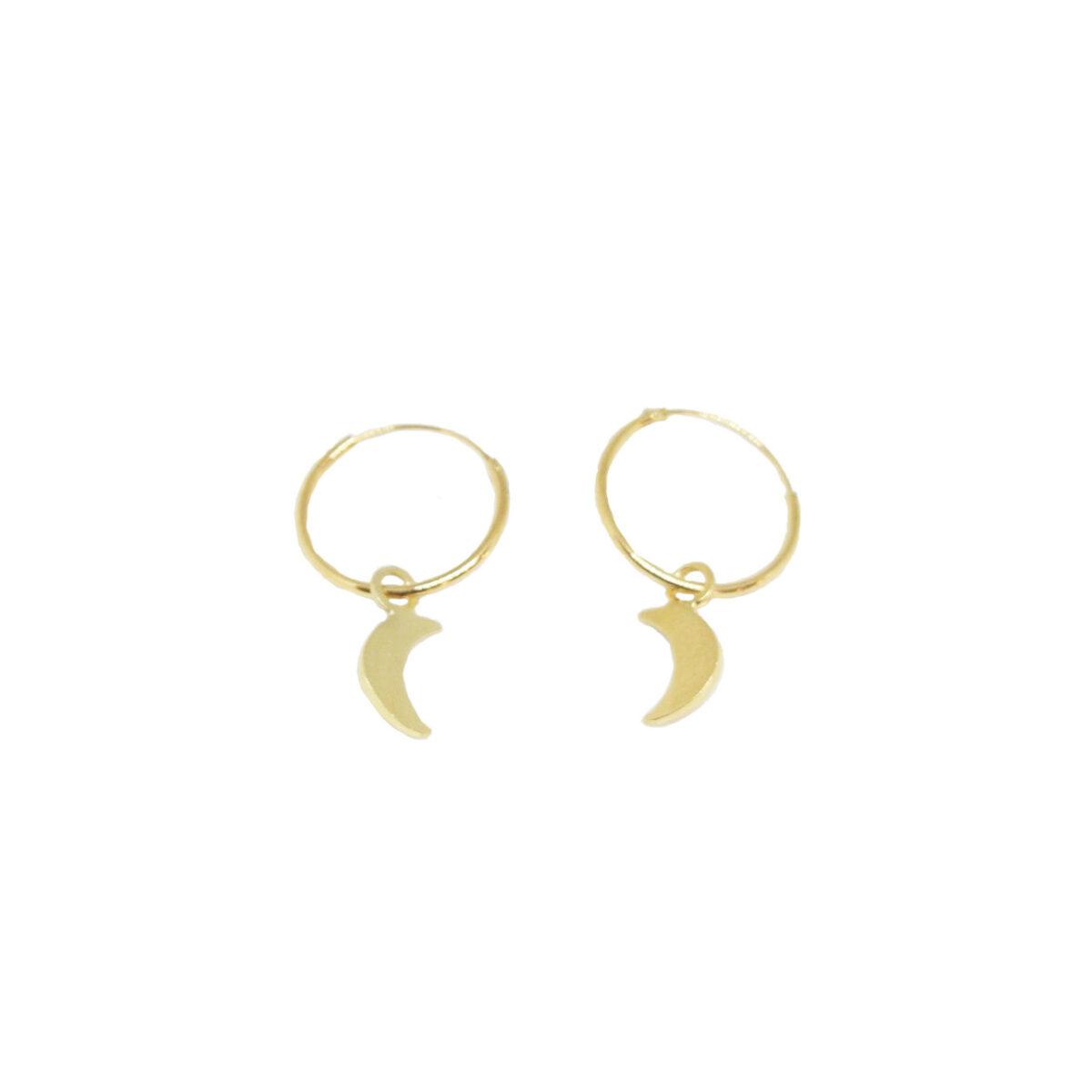 """La Luna"" Hoops II gold plated"